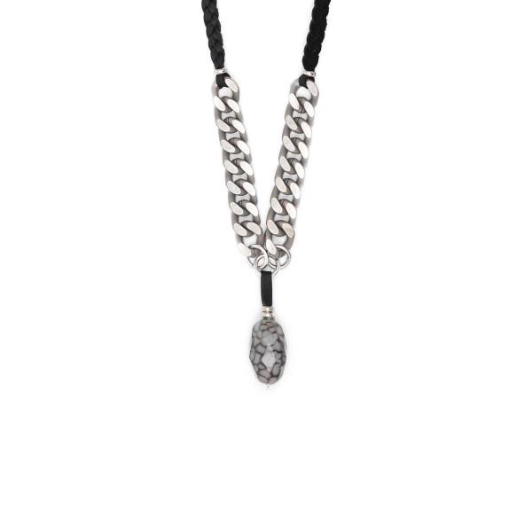 Silberkette in die eine längere lederkette eingeflochten ist - achat anhänger am ende