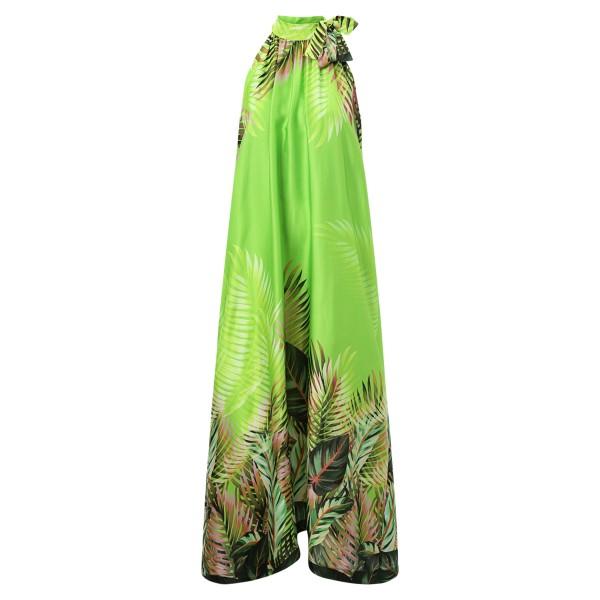 Neckholderkleid grün Palmenblätter lang Sommer