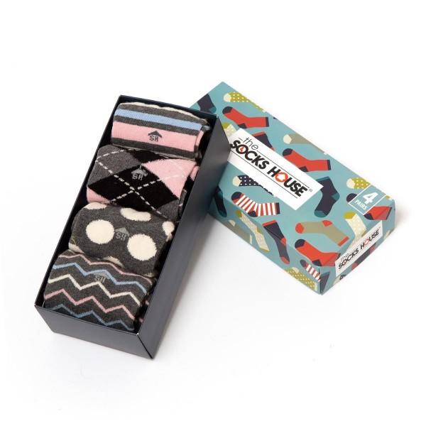 Geschenkebox - 4 Socken Paare - gestreift - gepunktet - linien - Karos