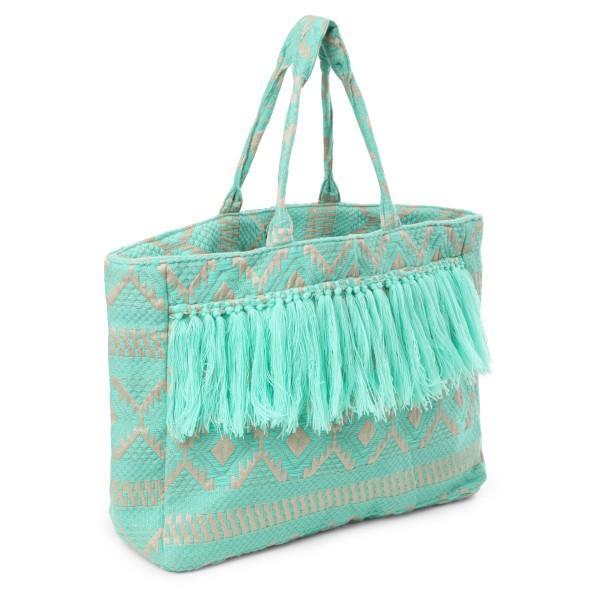 Strandtasche von Debbie Katz creme-mint gemustert