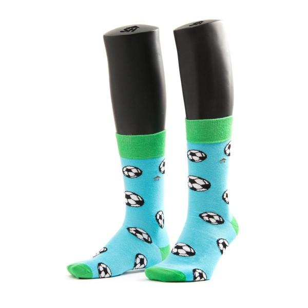 Halbhohe Socken - Blauer hintergrund - fußballmuster