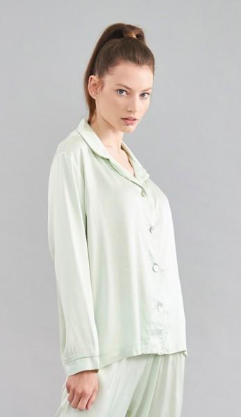 Schlafhemd zum knöpfen grün