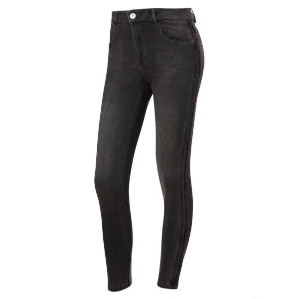 graue jeans - geriffelter seitenstreifen