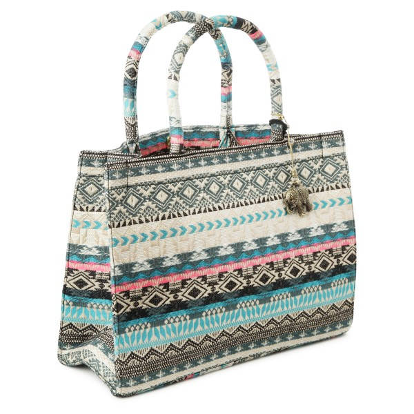 Book Tote mit Ethno Muster creme mint
