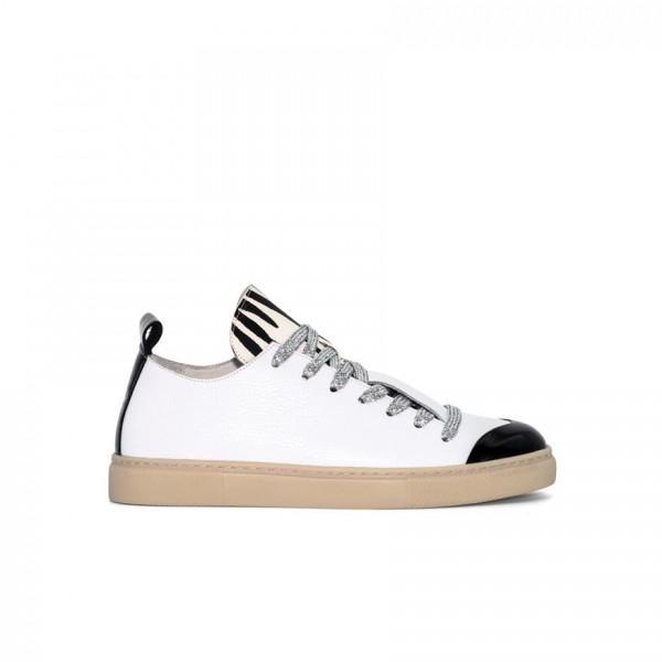 Sneaker - Leder - weiß - Band silver - Schuh schwarz abgesetzt