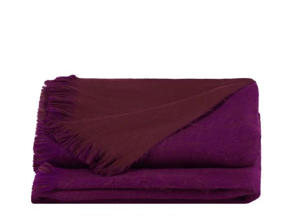 Alpaca Decke Handmade Violet & Chocolate Brown