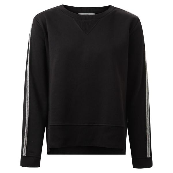 Sweatshirt - schwarz - Baumwolle - silberner Zierstreifen am Arm