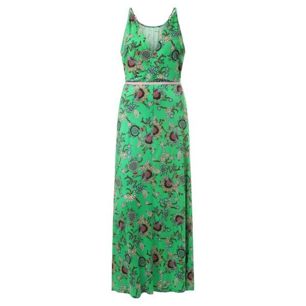 langes Damenkleid - grün gemustert - Trägerkleid