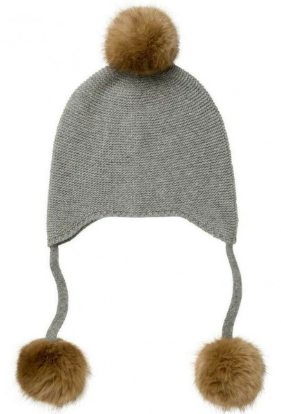 Mütze - grau - mit Bommel - Faux Fur Pom Poms
