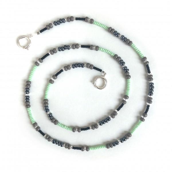 Glasperlenkette - grau - mint - silver