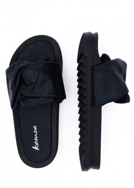 leichte Slipper schwarz mit Schleife verziert