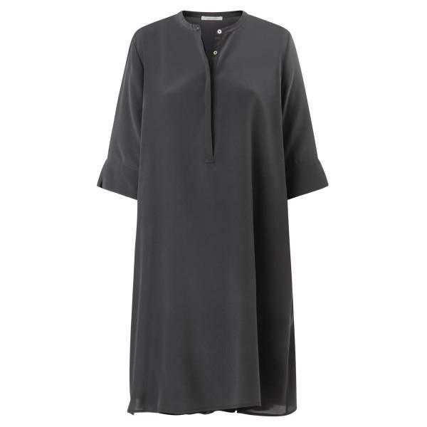 Seidenkleid anthra mit Unterkleid A-Linie