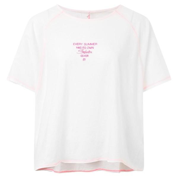 weißes Baumwollshirt - oversize- pinker Schriftzug
