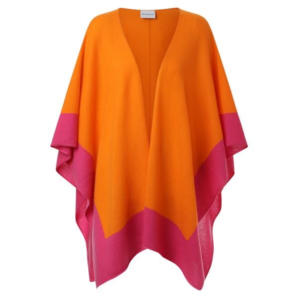 Poncho - wunderschöne weiche Strickqualität in leuchtenden Farben orange-pink