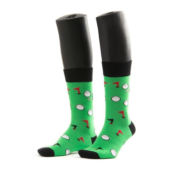 Halbhohe Socken - Golf Muster - Weisse bälle auf grünen grund