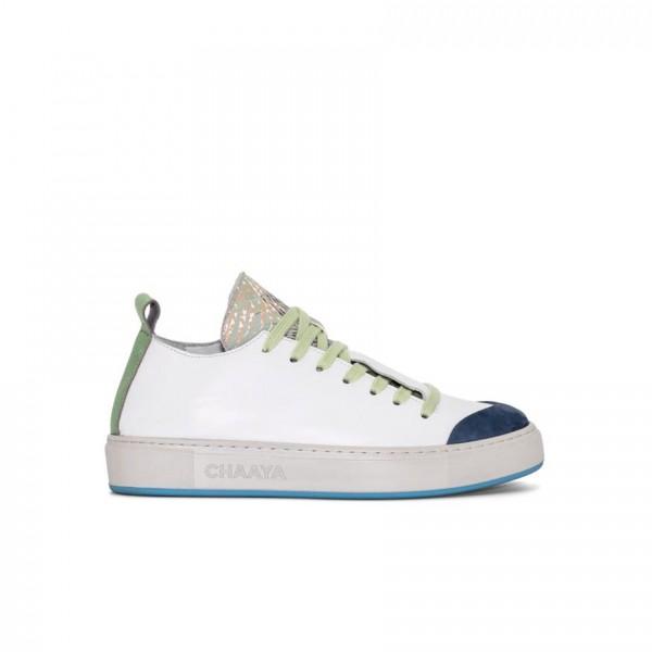 Ledersneaker - weiß - blau - hellgrün abgesetzt