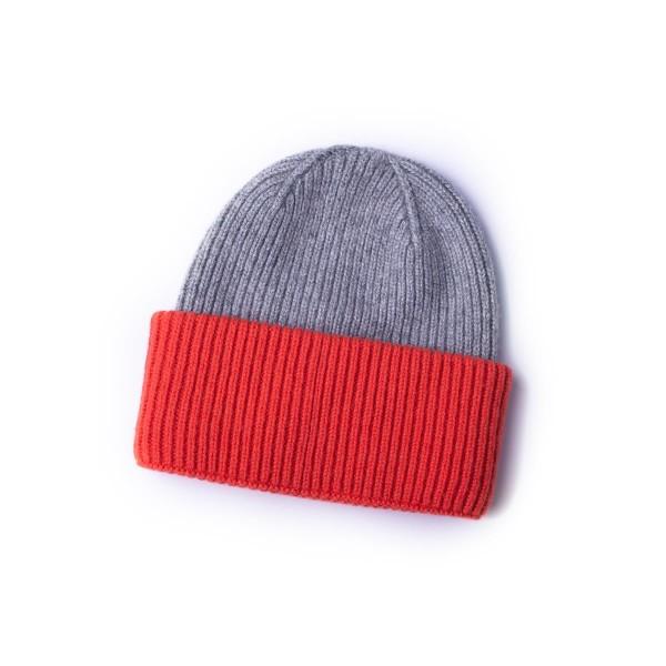 Strickmütze - grau - rot - zweifarbig