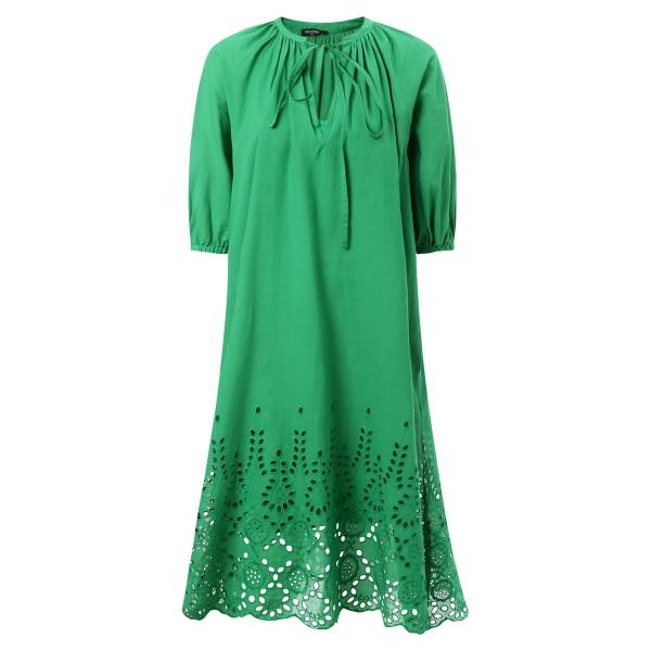 Empire Kleid Lochstickerei grün