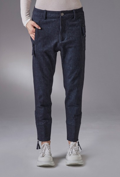 Jeans Optik - weiches Jersey Material mit Zip