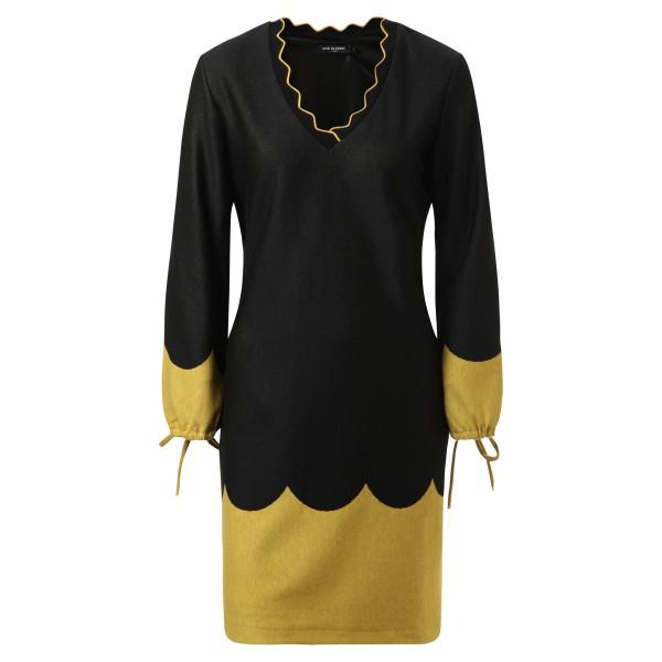 Kleid - schwarz - gelb - langarm
