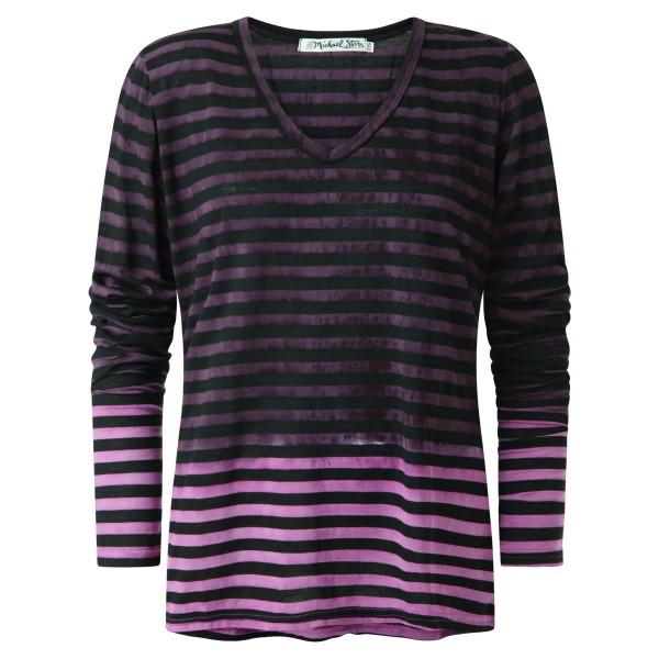 Langarmshirt V-Ausschnitt gestreift lila-rosa-schwarz