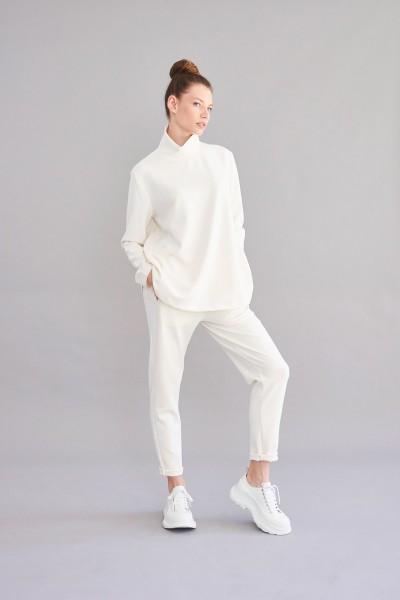 Shirt mit Stehkragen offwhite Modalmischung lang Arm
