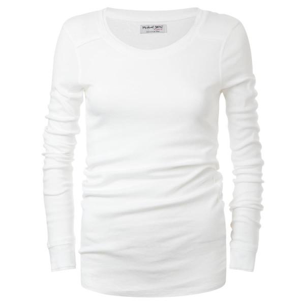 Rundkragen - Langarm - weiß - Basicshirt