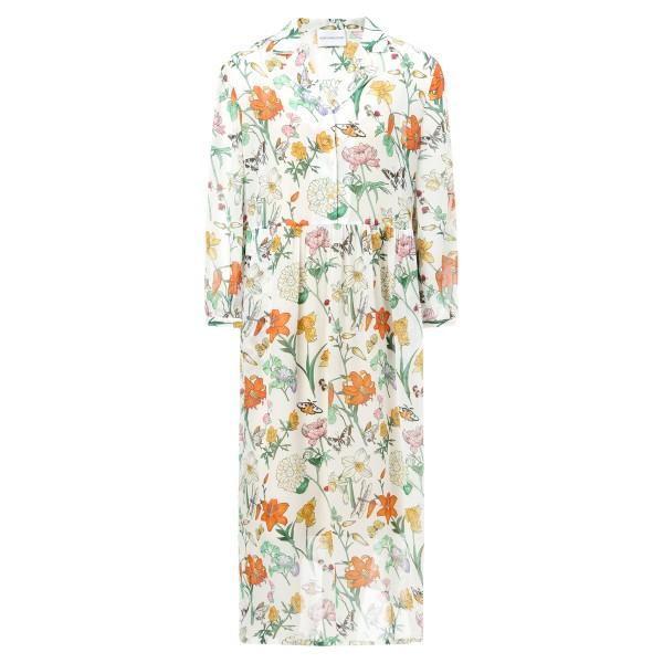 Sommerkleid weiß gemustert mit Unterkleid