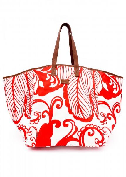 hochwertige Stofftasche rot - weiß gemustert