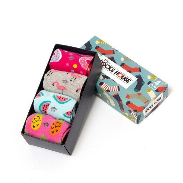 Damen - Geschenkeset - Vier Paar Socken - Flamingo - Wassermelone - Ananas - Doughnut