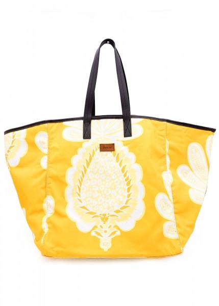 sommerliche Stofftasche weiß-gelb gemustert