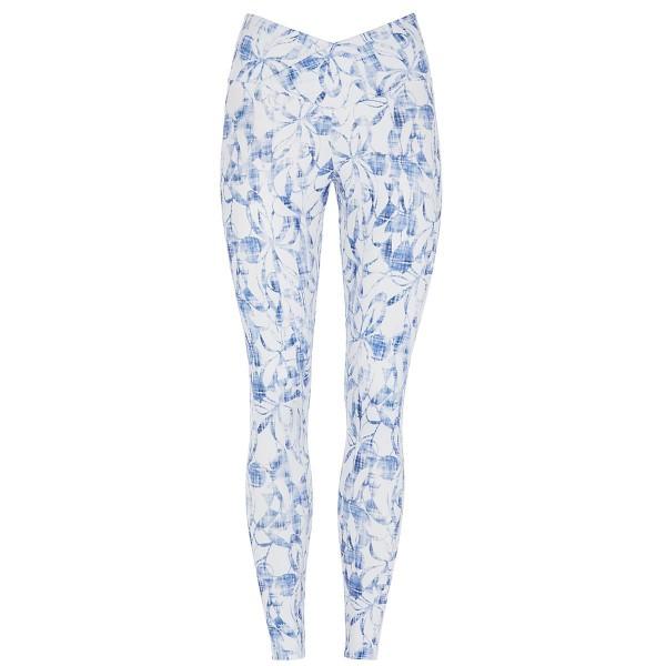 blau-weiß gemusterte Yoga Pant slim