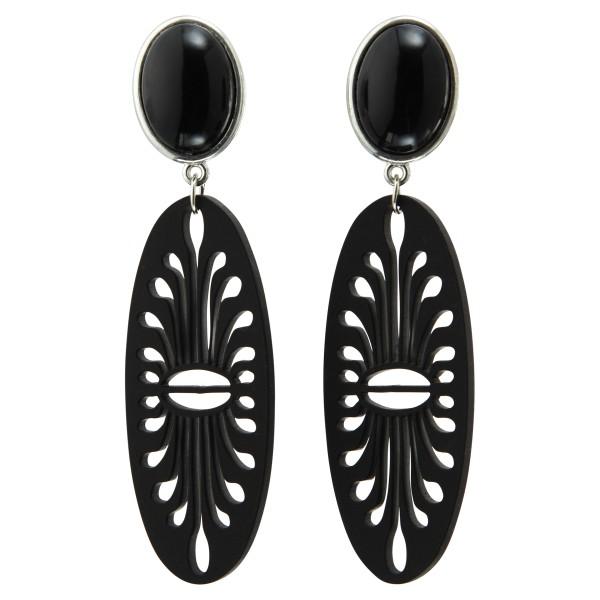 Modische Ohrringe Laser Cut Oval in schwarz.