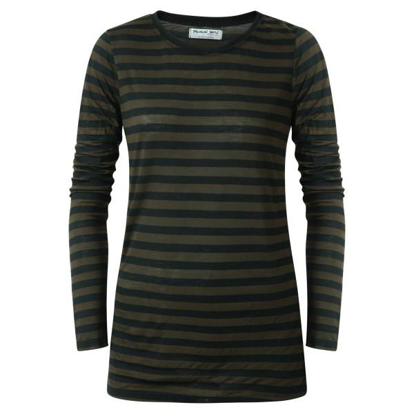 Basicshirt- gestreift- Olive-schwarz