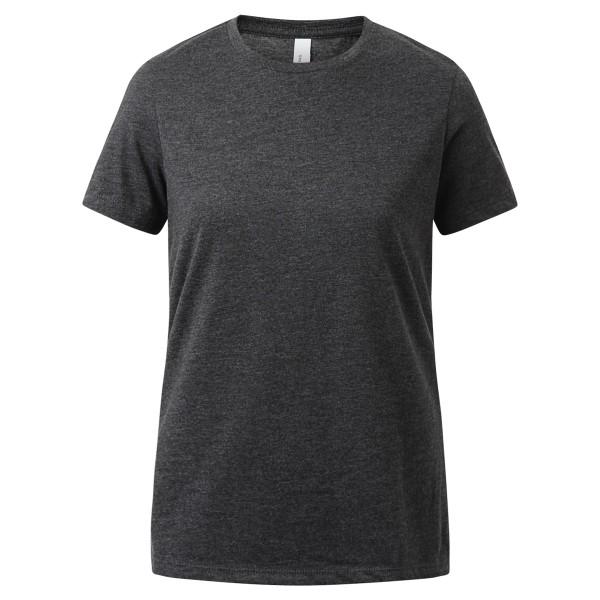 anthrazit meliert - weiches Baumwoll Basic Shirt - Rundkragen - regular