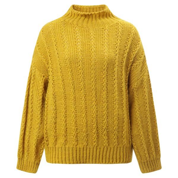 Pullover Stehkragen Senf Gelb