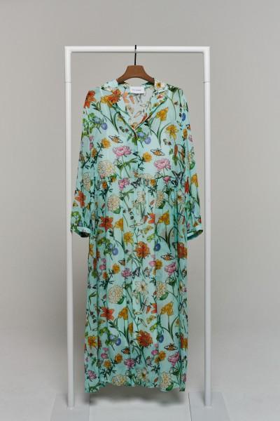 Sommerkleid mint gemustert mit Unterkleid