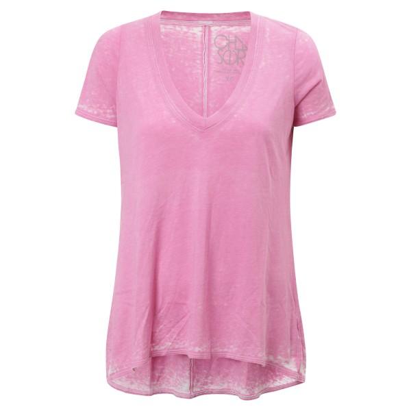 T-Shirt rosa mit weitem V-Neck leicht A-Linie