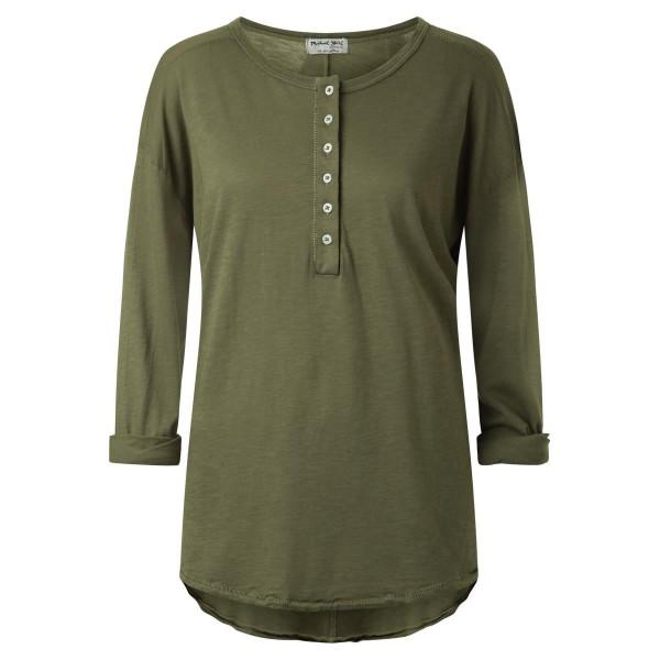 olive Shirt Knopfleise lang Arm