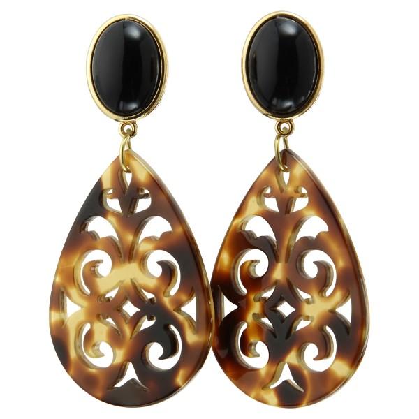 Ohrstecker vergoldet. Acryl-Ornamente, schwarz/braun