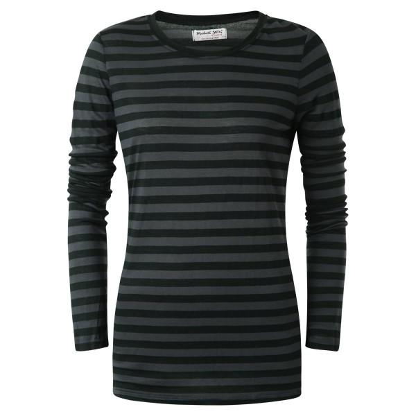 Langarmshirt gestreift schwarz-grau