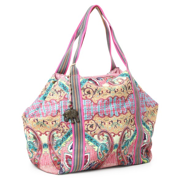 Canvastasche Paisleymuster pink