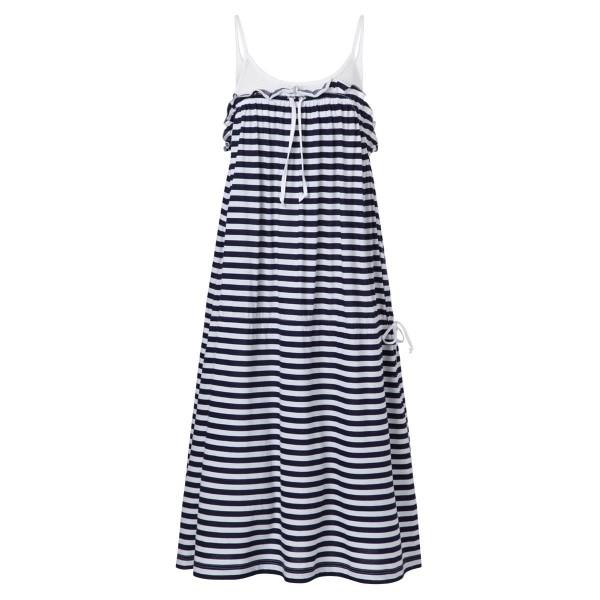 blau - weiß gestreiftes Sommerkleid lang