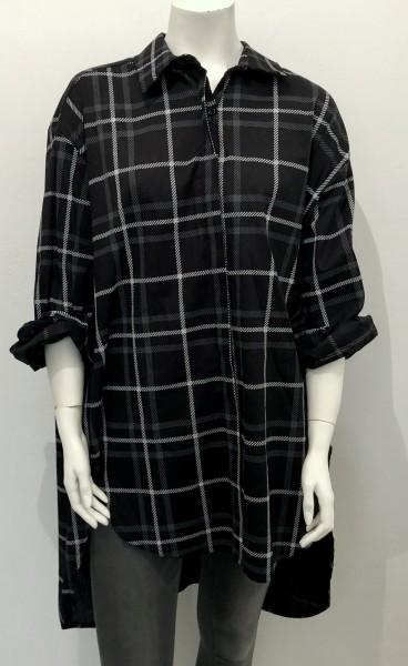 Oversize karo Hemd - black-grey
