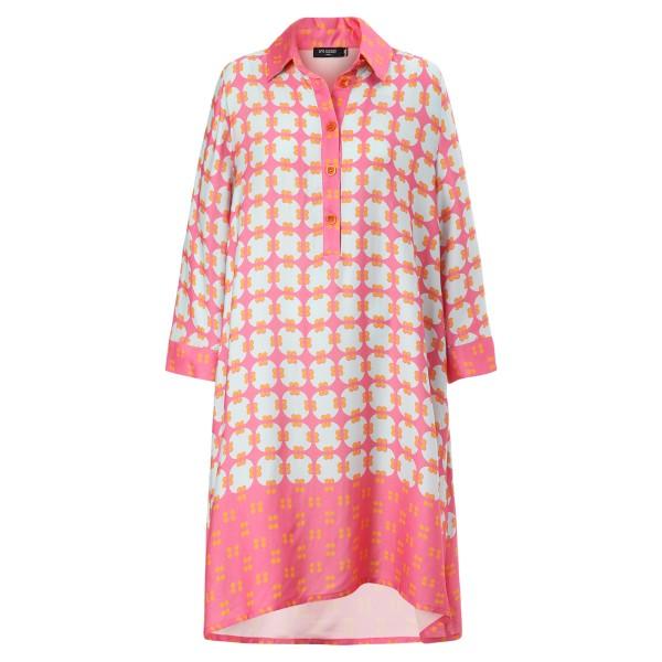 Hemdblusenkleid Grafiprint pink&hellblau