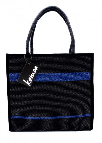 Sommertasche schwarz mit blauen Streifen