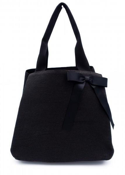 klassische Sommertasche schwarz mit Schleife