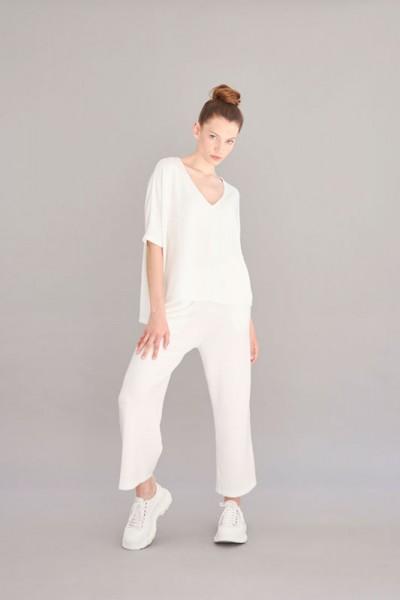 1/2 Arm offwhite Shirt wollige Qualität V-Neck