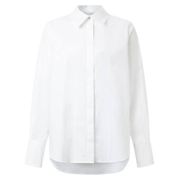 Damenbluse - weiß - Kragen - Hemdform - Oversize