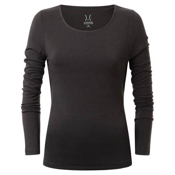 Langarm - Shirt mit Rund-kragen - anthrazit - edle Optik